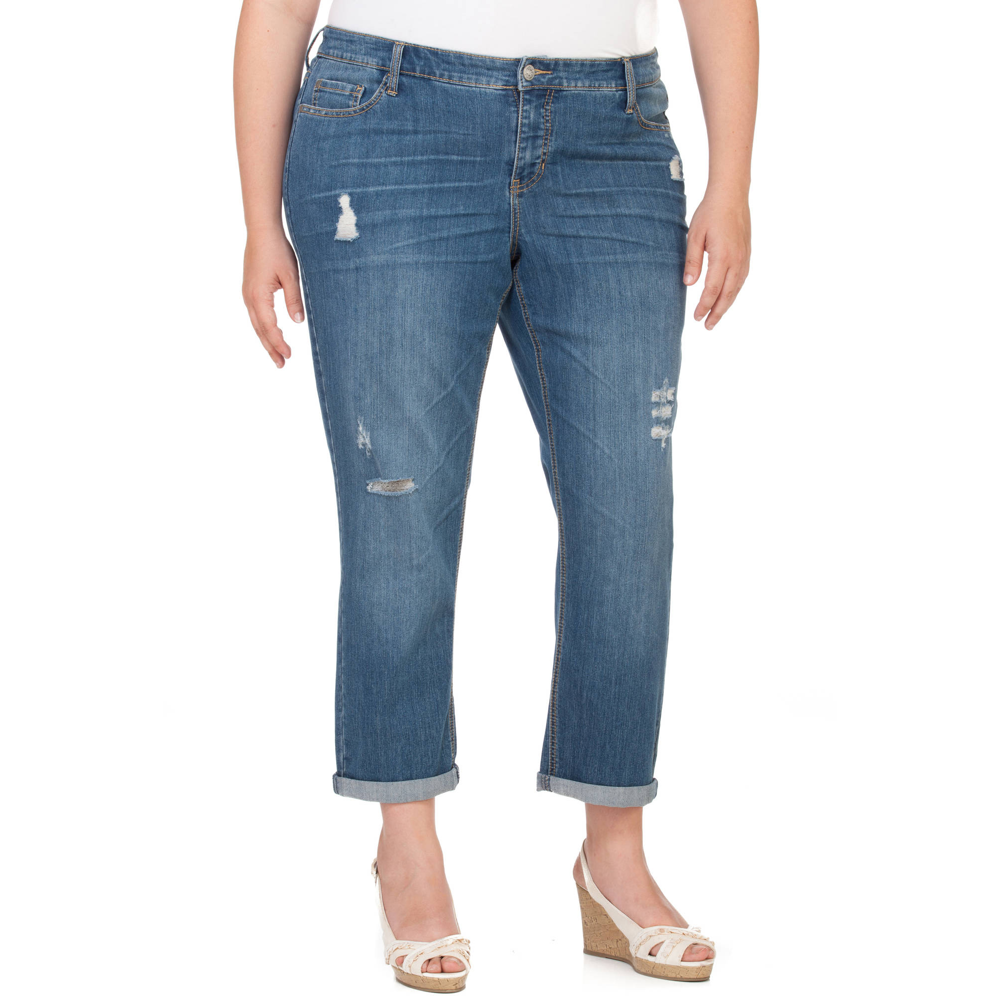 Faded Glory Women's Plus-Size Distressed Boyfriend Jeans - Walmart.com