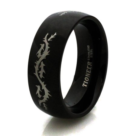 Black Stainless Steel Barbed Wire Wedding Band Ring