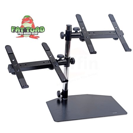 Computer Rack Mounting Equipment - Double Computer Laptop Stand DJ Equipment by Fat Toad 2 Tier PC Table Portable Clamp Rack with Duel Mounts for Studio Mixers, Controllers, Monitors, CD Players, Speakers & Mobile Disc Jockey Gear