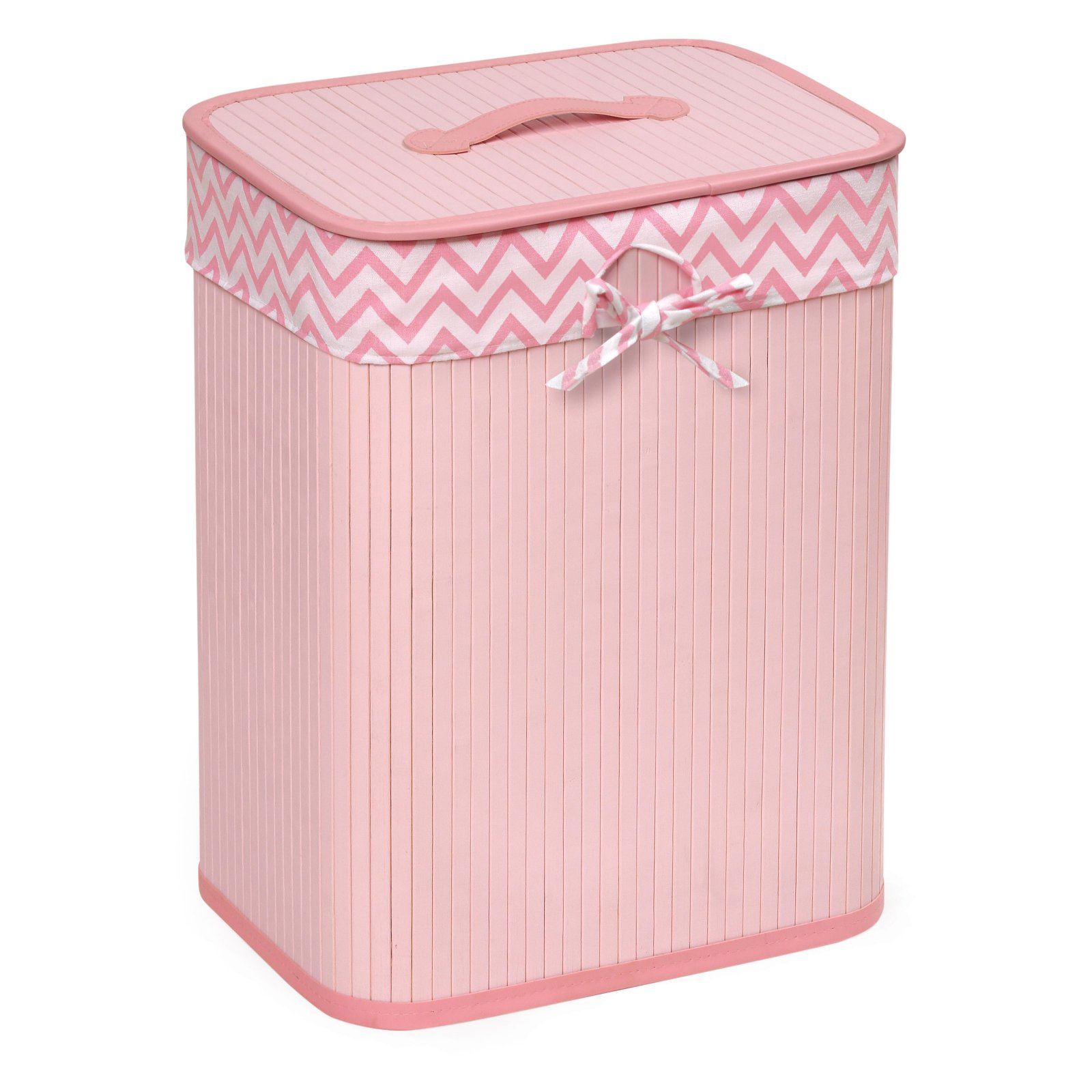 Badger Basket Claremont Rectangle Bamboo Hamper, Pink