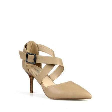 Calico Kiki Criss cross Adjustable Ankle Strap Women's Pumps in Nude