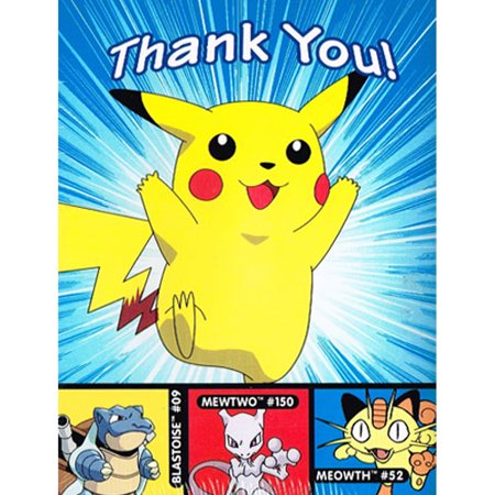 Pokemon 'Pikachu' Thank You Notes w/ Envelopes (8ct) - Pokemon Thank You