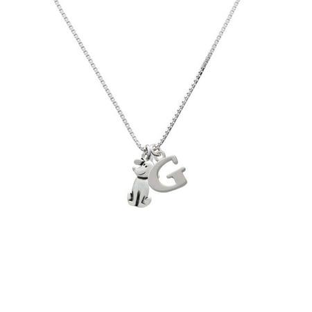 Delight Jewelry - Silvertone 2-D Dog - G - Initial Necklace - Walmart.com
