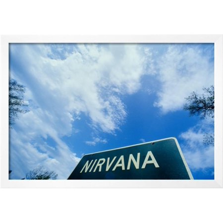 A sign for Nirvana Framed Print Wall Art - Walmart.com