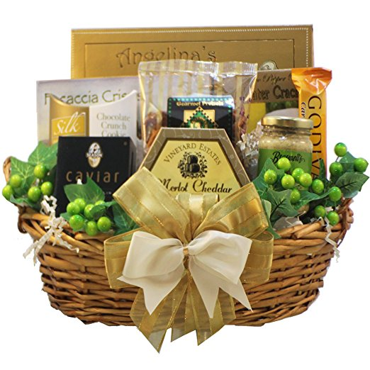 Savory Sophisticated Gourmet Food Gift Basket with Caviar, MEDIUM (Chocolate Option)