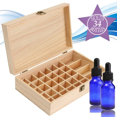34 Slots Wooden Essential Oil Storage Box Buckle Carrying Case Home Container - image 7 of 7