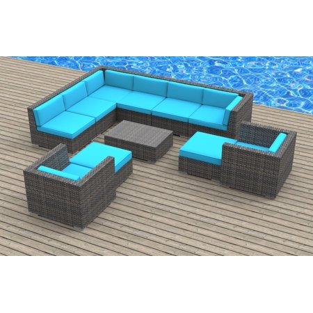 Urban Furnishing Aruba 11pc Modern Outdoor Wicker Patio Furniture Modular Sofa Sectional Set Fully Embled Sea Blue