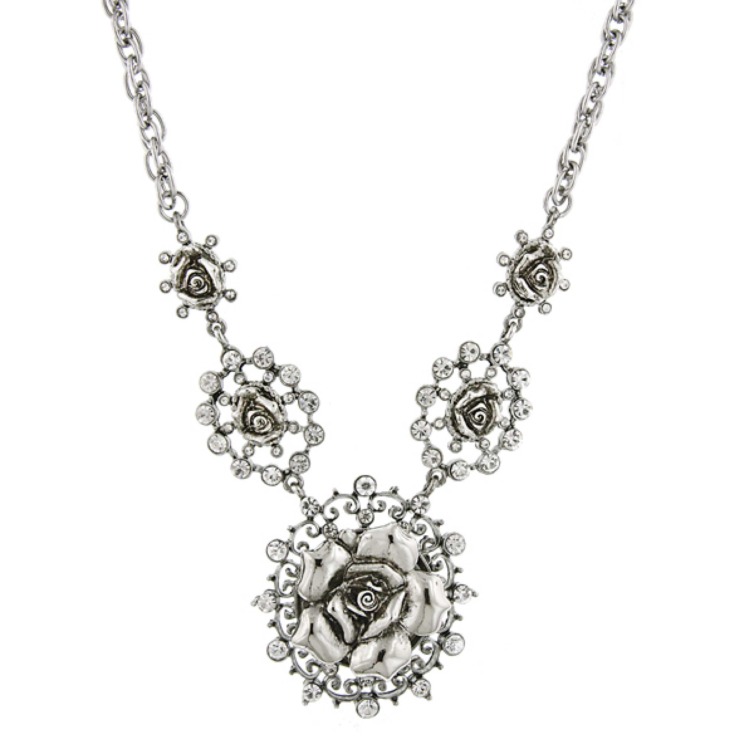 1928 Jewelry Womens Signature Crystal Flower Statement Necklace