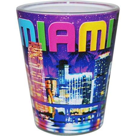 Miami Florida Purple Night Skyline Shot Glass ctm