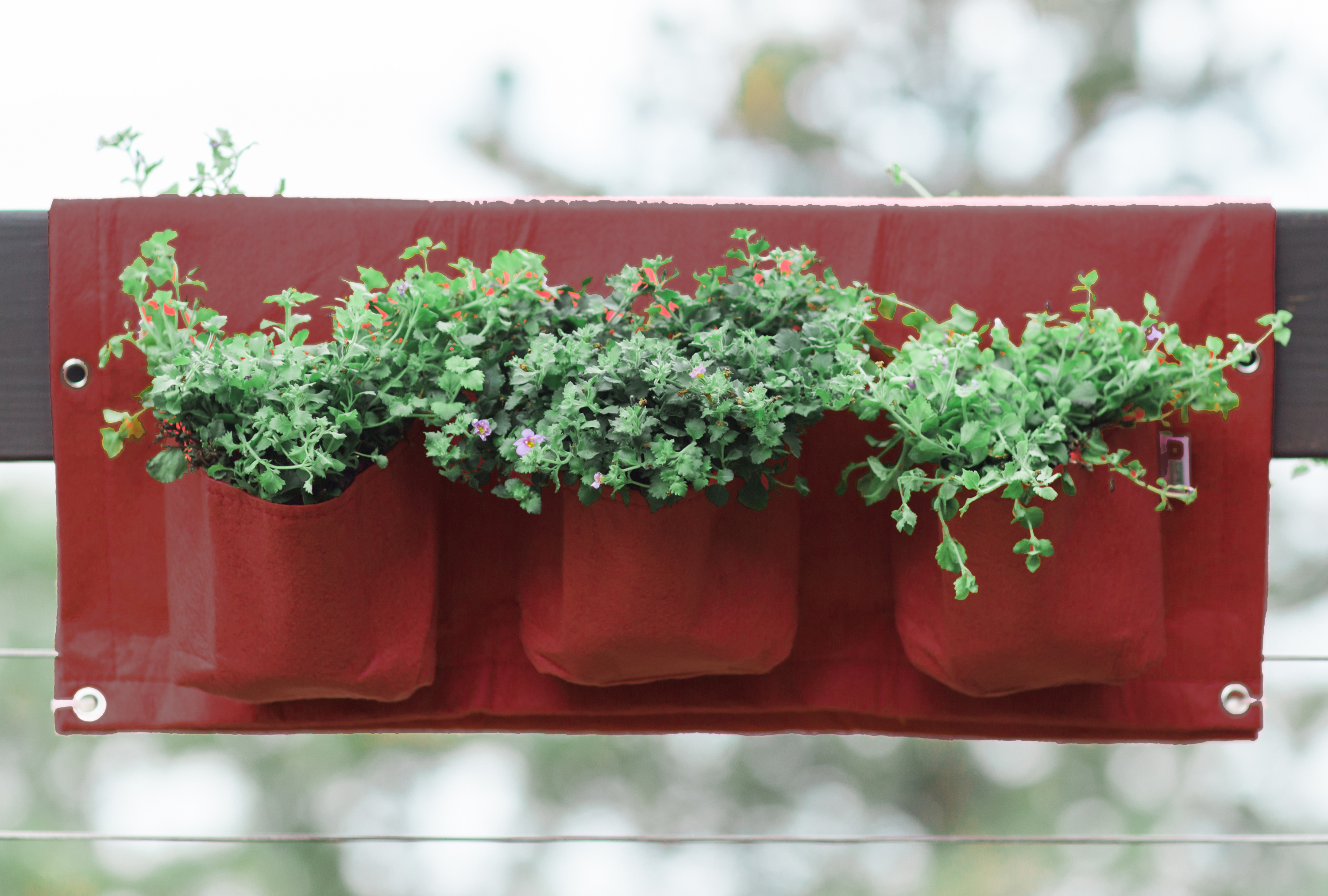 Bloembagz Deck Rail 6 Pocket Hanging Planter Bag Union Red