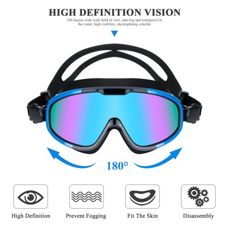 Anyprize Swimming Goggles for Adults, Blue Waterproof Big Frame Swimming Goggles for Men/Women, Anti-fog Plating Wide-vision Swim Goggles with UV Protection
