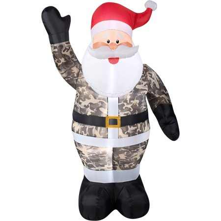 Gemmy Airblown Christmas Inflatables 7' Santa in Camo