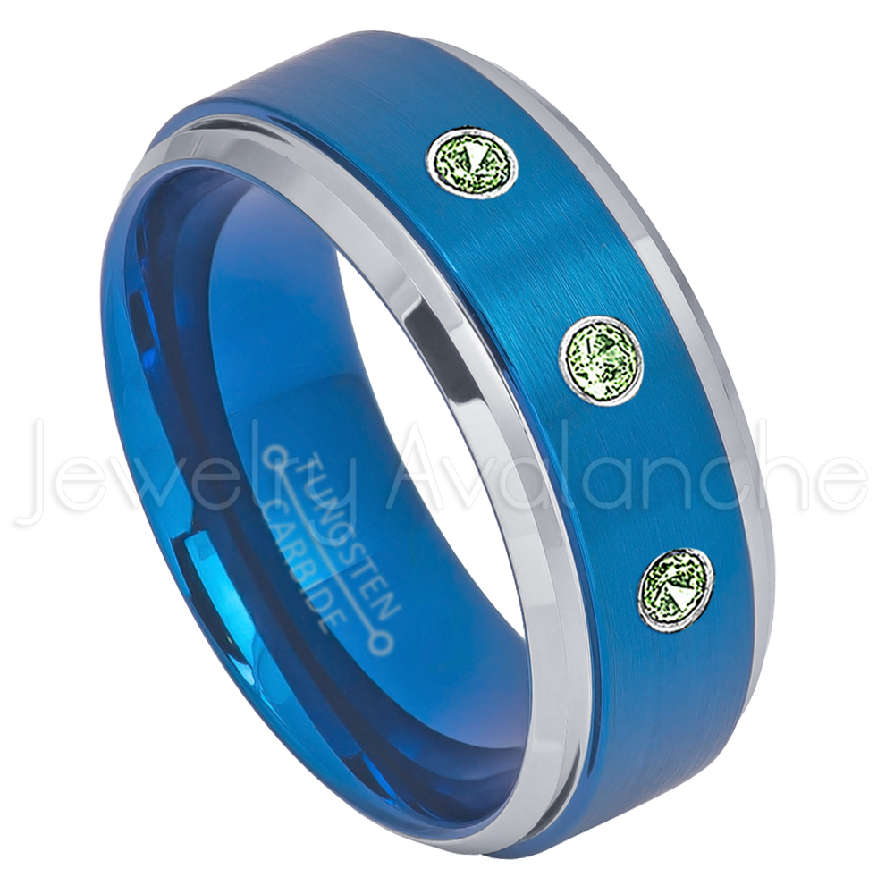 2-Tone Blue IP Tungsten Ring 0.21ctw Green Tourmaline 3-stone Band Personalized Tungsten Wedding Ring Custom Made... by Jewelry Avalanche