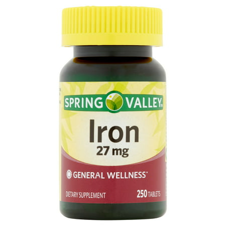 (2 Pack) Spring Valley Iron Supplement Tablets, 27 mg, 250