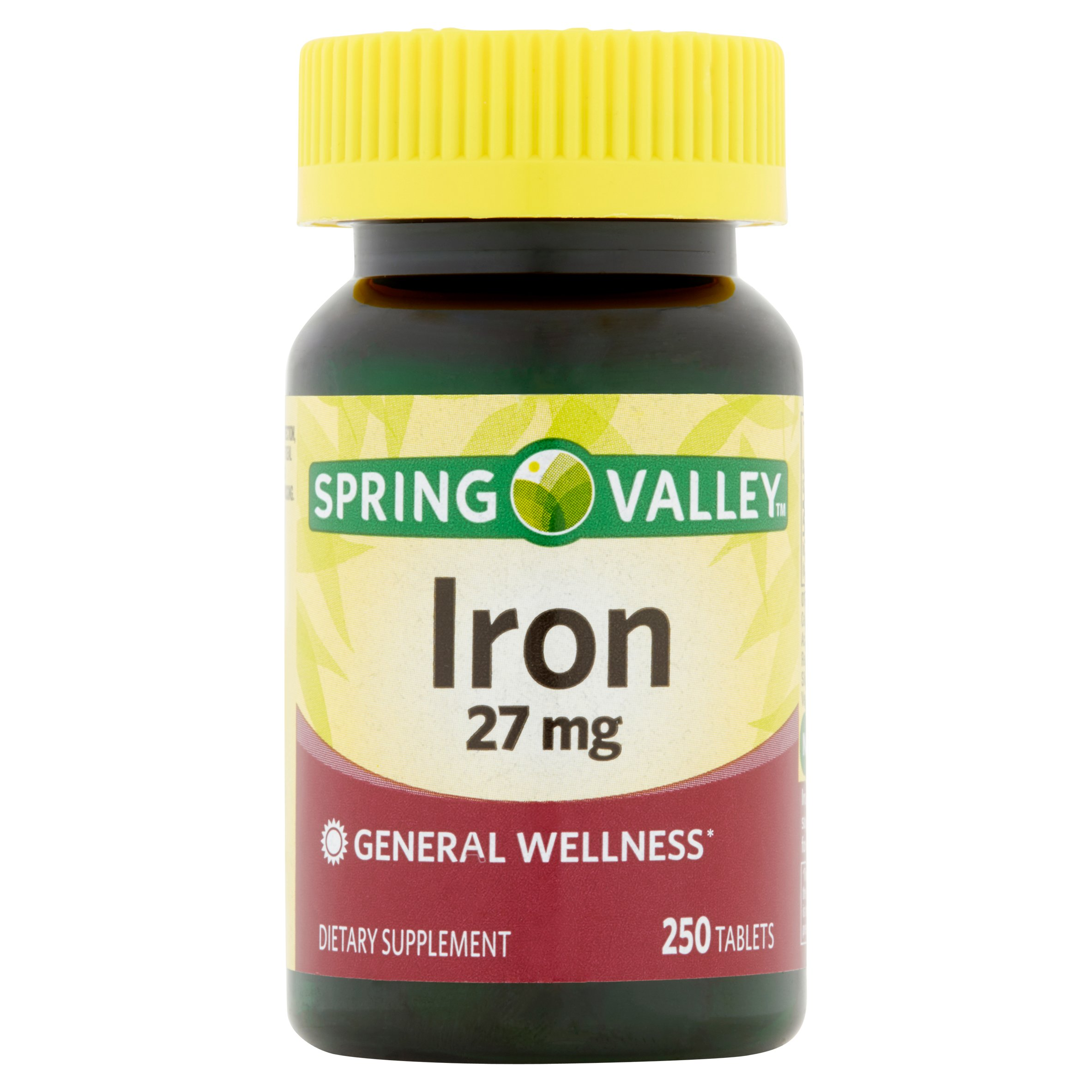 (2 Pack) Spring Valley Iron Supplement Tablets, 27 mg, 250 Ct