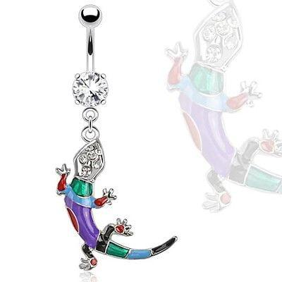 Multi Stone Dangle - Belly Button Ring  Multi Colored Epoxy Lizard Gems Dangle Navel Ring