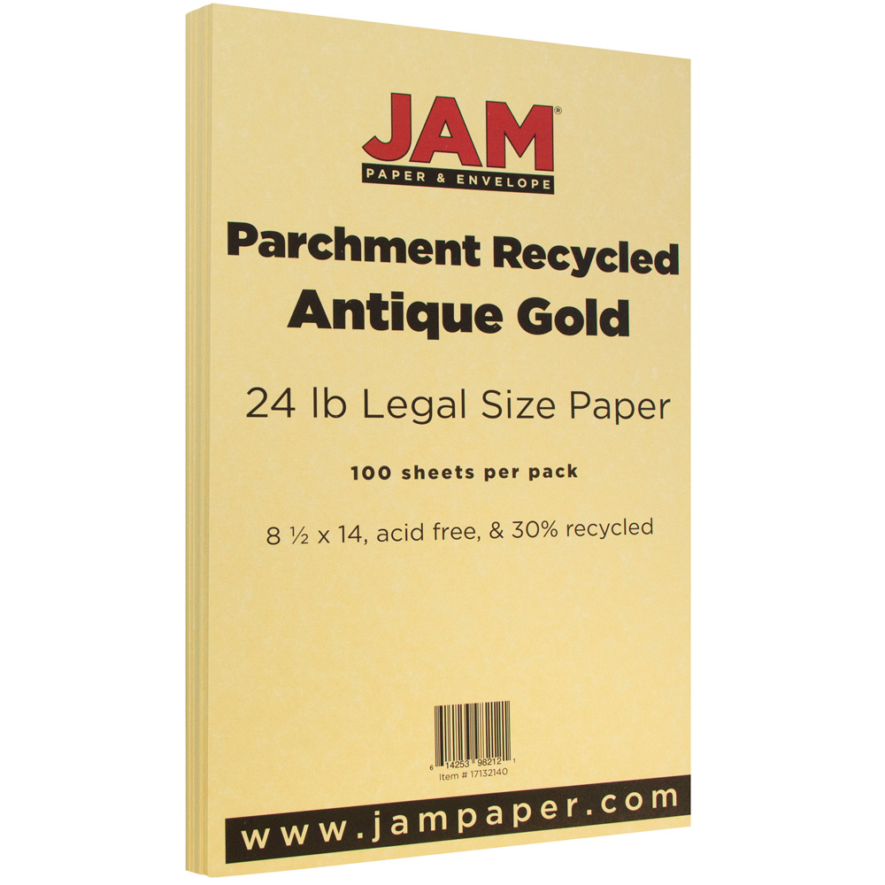 JAM Paper Parchment Legal Size Paper, 8.5 x 14, 24 lb Antique Gold Recycled, 500 Sheets/Ream
