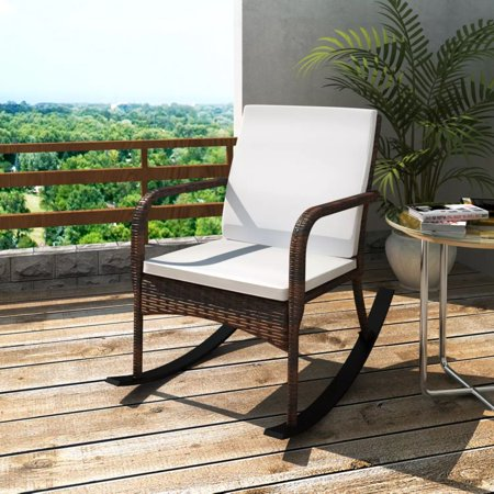 Remarkable Timechee Garden Rocking Chair Poly Rattan Wicker Brown Porch Swing Outdoor Chair Pdpeps Interior Chair Design Pdpepsorg