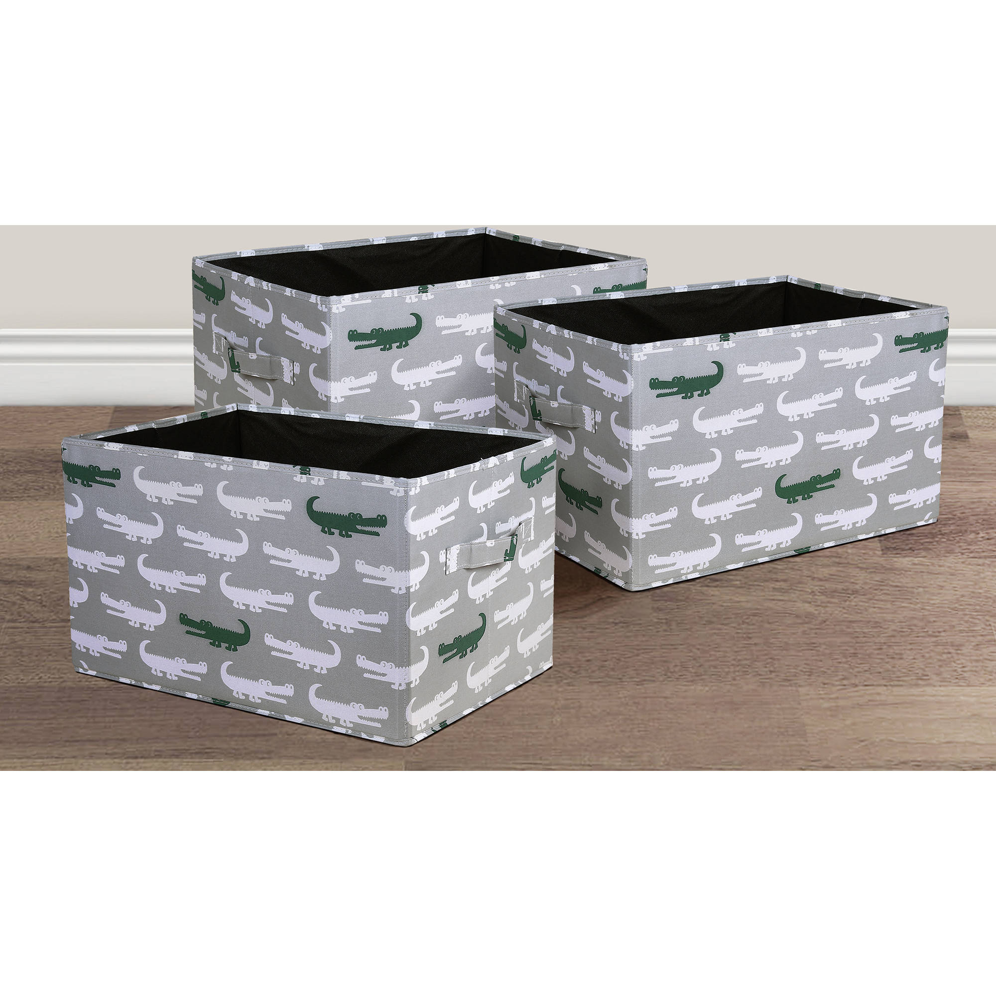 Alligator Fabric Covered Collapsible Box Gray/Green 3-Piece Set