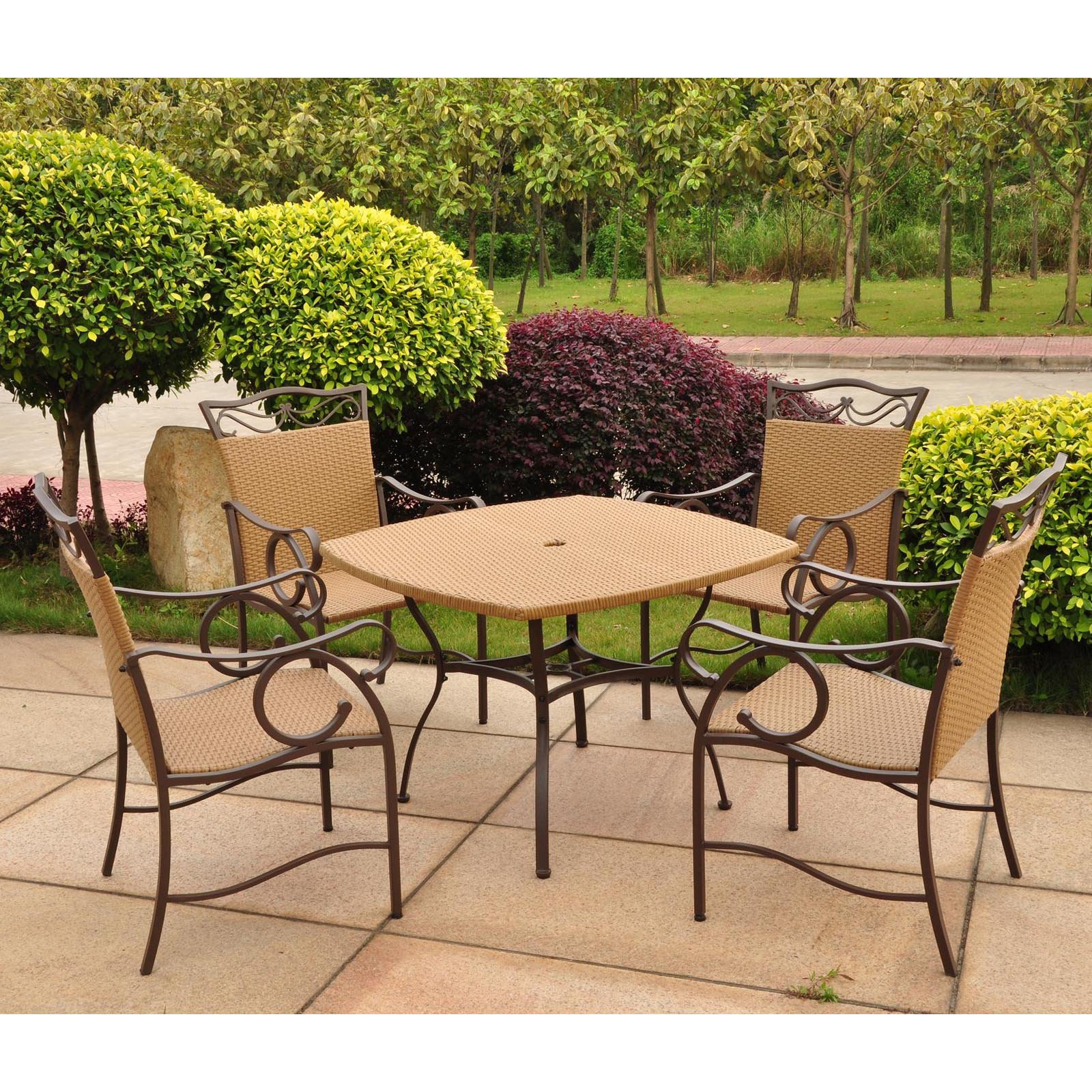 International Caravan Valencia 5 pc. Wicker Resin Patio Set