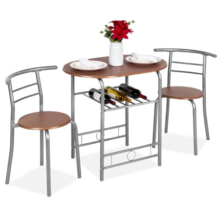 Best Choice Products 3-Piece Wooden Kitchen Dining Room Round Table and Chairs Set w/ Built In Wine Rack (Espresso) Oak Dining Room Table Chairs