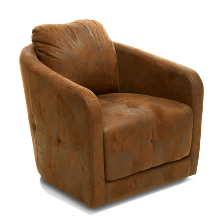 Admirable Hanover Brown Microfiber Fabric Swivel Accent Chair Theyellowbook Wood Chair Design Ideas Theyellowbookinfo