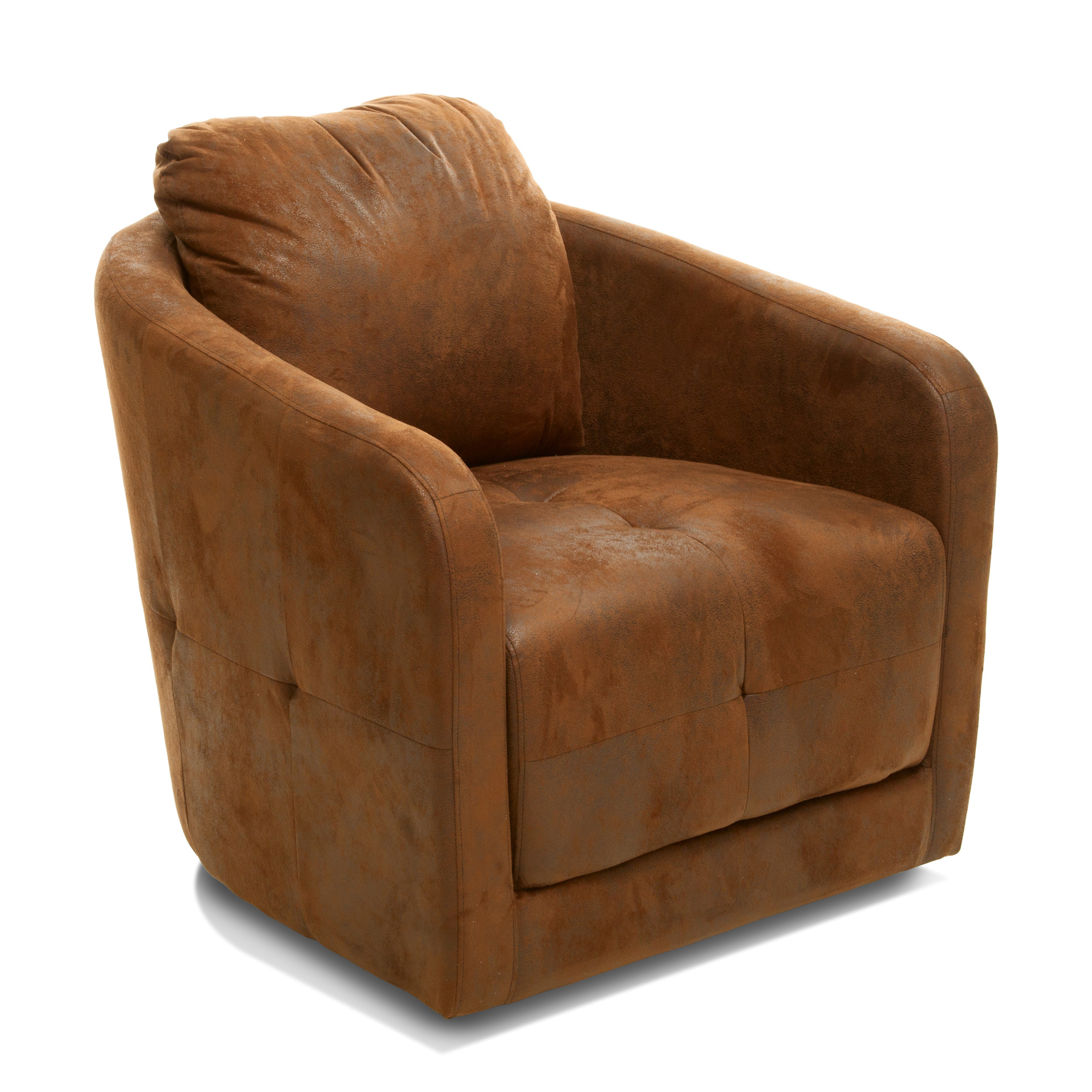 Hanover Brown Microfiber Fabric Swivel Accent Chair