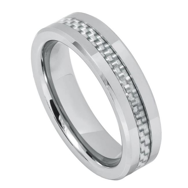 TK Rings 213TR-6mmx8.0 6 mm Gray Carbon Fiber Inlay Tungsten Ring - Size 8 - image 1 de 1