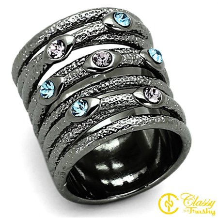 Classy Not Trashy® Women's Ruthenium Colored Crystal Wide Band Ring, Multicolor - Size 6 - Multi Colored Crystal