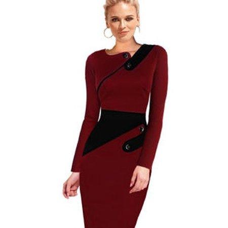 045896bf3c2 Unomatch - Women Bodycon Long Sleevess Slim Evening Formal Dress Red -  Walmart.com