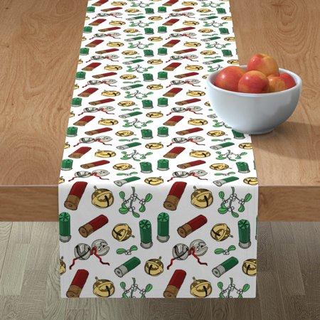 Table Runner Christmas Hunter' Holiday Gift For Gun Lover Cotton Sateen ()