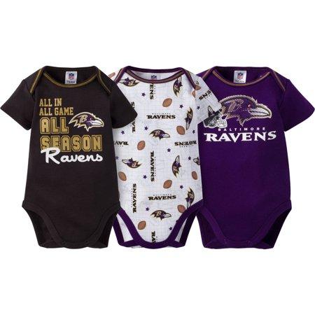 NFL Baltimore Ravens Baby Boys Short Sleeve Bodysuit Set, - Nfl Onesie Set