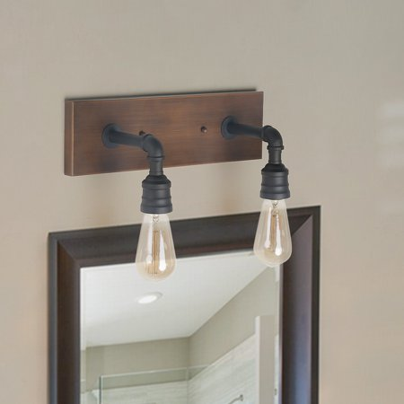 LNC Farmhouse 2 Light Wall Scones Wall Lantern for Outdoor/Indoor, 2 Water Pipe Bath Wall Lamp Industrial Sconces Bathroom Vanity Lighting