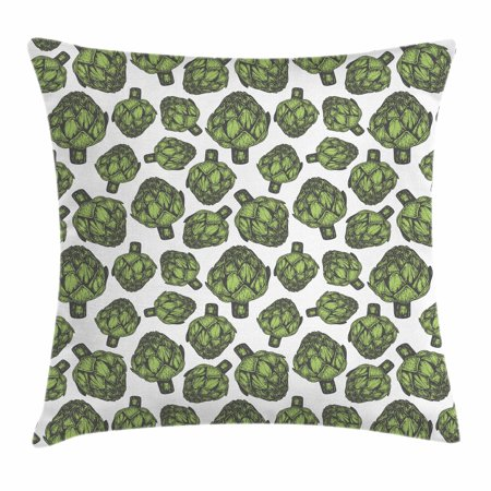 Artichoke Throw Pillow Cushion Cover, Detailed Drawing of Super Foods Fresh Vitamin Sources Natural Nutrition Source, Decorative Square Accent Pillow Case, 20 X 20 Inches, Forest Green, by (Best Food Sources Of Vitamin K)