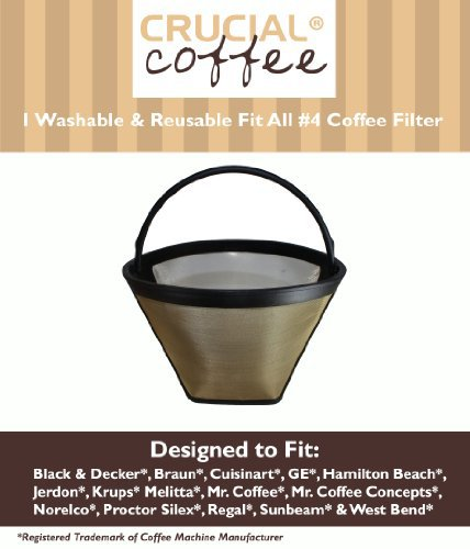 Crucial Coffee Washable & Reusable Coffee Filter # 4 Cone Fits Black & Decker, Braun by Crucial Vacuum