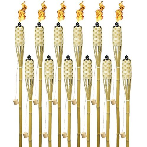 """Matney Bamboo Torches - Includes Metal Oil Canisters with Bamboo Covers to Protect from Rain, Great for Outdoor Decorating, Luau, Tiki Parties, 5 ft"""" Long"""