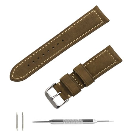Sand Crazy Horse Oiled Leather Padded Watchband w/ Contrast Stitching + Spring Bar Tool (20 & 22mm) ()