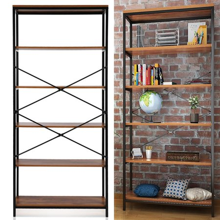 5-Tier Vintage Style Bookshelf, Multipurpose Wood Bookcase Display Storage Shelves for Home Office