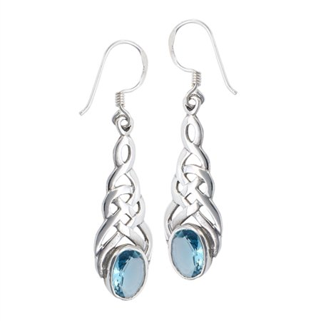 - Sterling Silver Celtic Knot Simulated Blue Topaz Hook Earrings