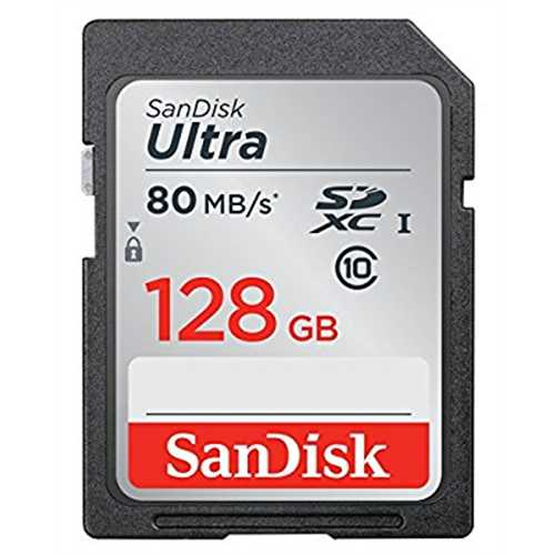 SanDisk 128GB Ultra UHS-I Class 10 SDXC Memory Card, Black, Standard Packaging (SDSDUNC-128G-GN6IN)