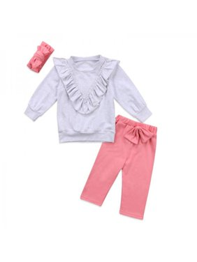 Lavaport Baby Girl Stylish Solid Color Bowtie Hairband + Shirts + Pants Kids Clothes Set