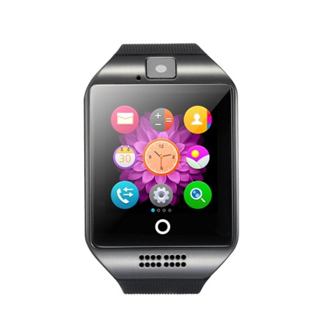 Q18 Bluetooth Smart Watch Sim Tf Card Slot Camera For Ios Android Smartphone Black Not Include Sim Card