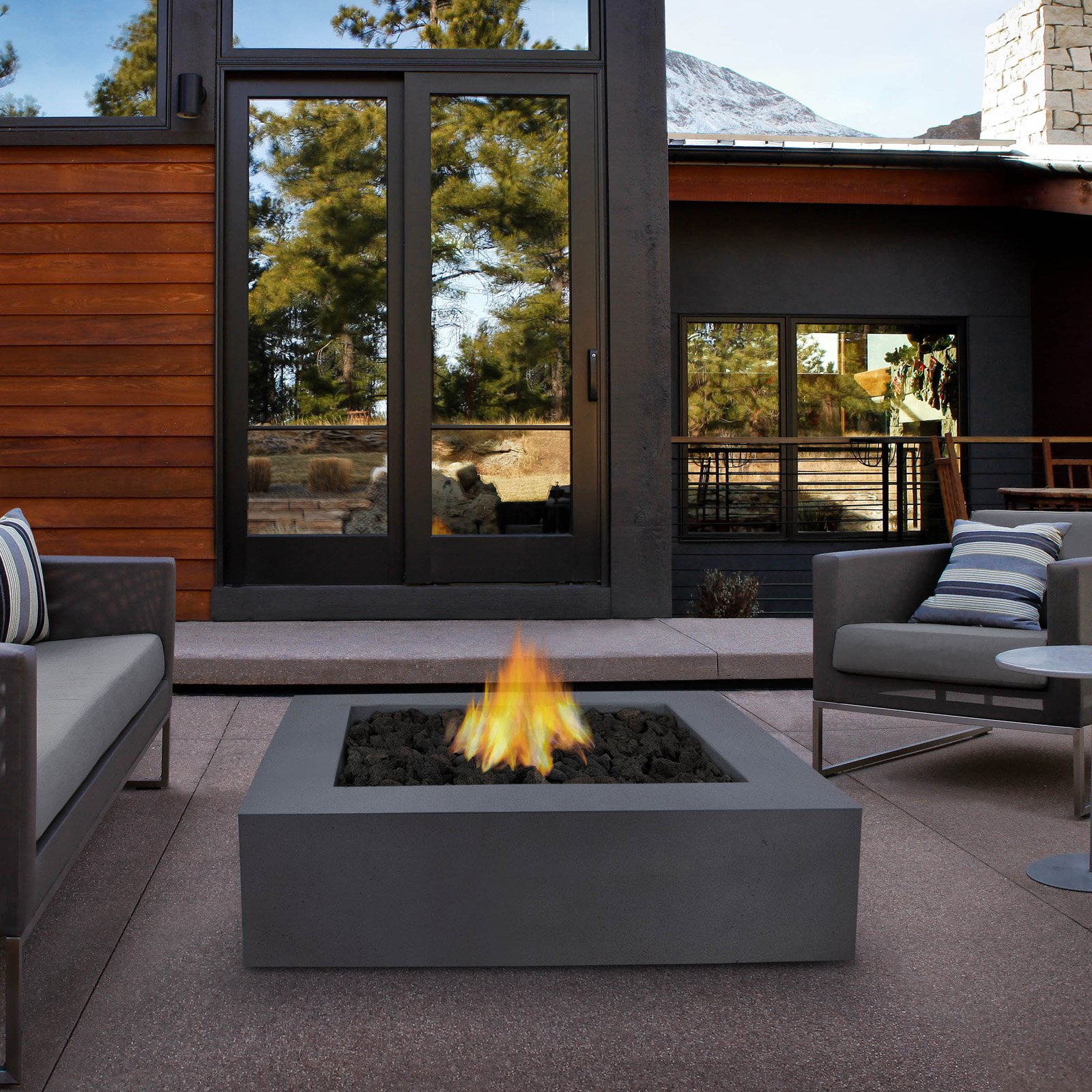 Real Flame Mezzo Square Fire Table with FREE Cover - Flint Gray