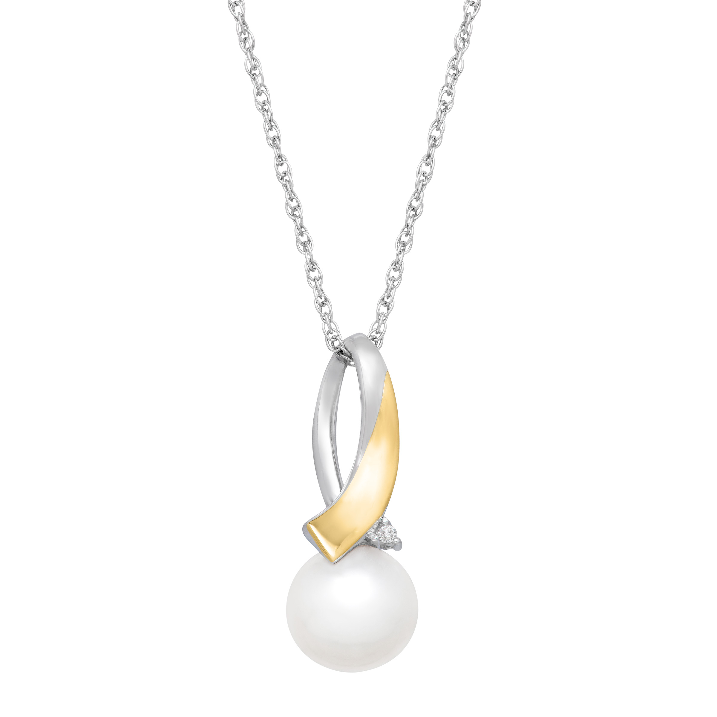 Duet Freshwater Pearl Drop Pendant Necklace with Diamonds in Sterling Silver and 14kt Gold