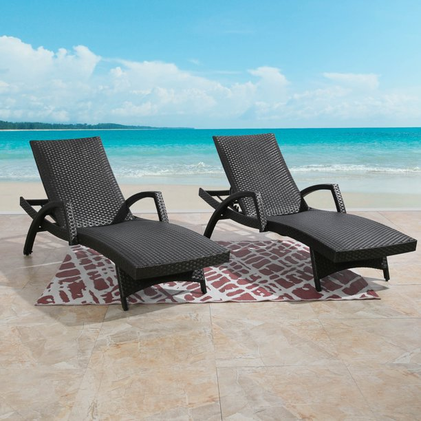 Ulax Furniture Outdoor Woven Padded 2, Pool Chaise Lounge Chairs With Wheels