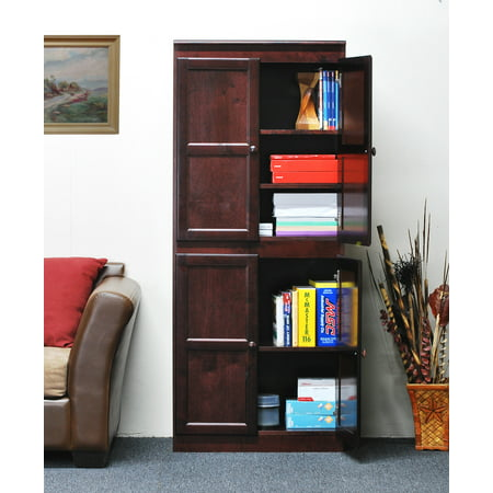 Concepts in Wood Storage Cabinet, 72 inch with 5 Shelves - Cherry Finish