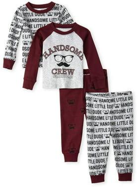 Long Sleeve 'Handsome Crew' All Around 'Handsome Little Dude' Mustache 4 Piece Pajama Set (Baby Boy)