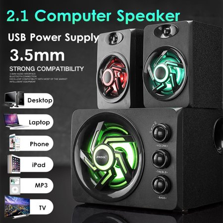 USB 2.1 Desktop Computer Speaker with Colorful/Blue LED Light Music Player Subwoofer Bass Audio For PC Laptop Cellphone (Computer Speakers With Led Lights)
