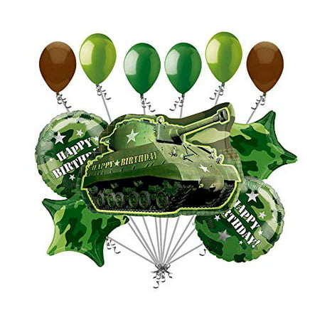 Army Tank Military Camouflage Party Supplies Birthday Balloon Bouquet Decorations (Army Birthday Party Supplies)