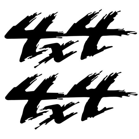 2-Pack 4X4 Decal | 11-Inches By 4-Inches | Black Vinyl 4x4 Off Road Decals